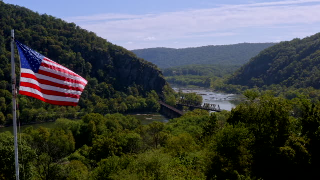 Aerial View of American Flag over Historic Harper's Ferry, West Virginia.