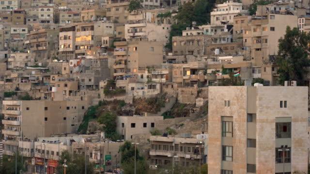 aerial view of amman city, the capital of jordan - państwo lokalizacja geograficzna filmów i materiałów b-roll