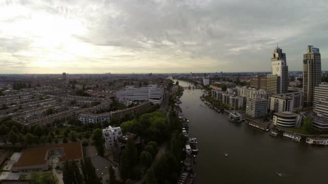 Luftaufnahme von Amsterdam Stadt Fluss skyline – Video