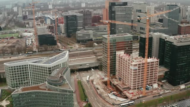 Aerial view of Amsterdam new modern buildings, financial office area known as south axis - Zuid As video