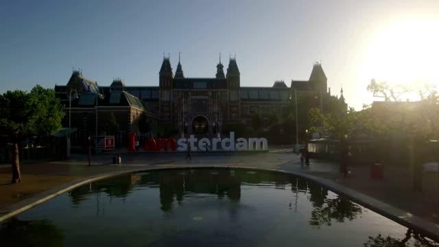 Luftaufnahme des Rijksmuseum Amsterdam und Kunst Square – Video