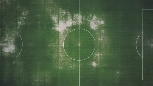 Aerial view of an abandoned soccer field