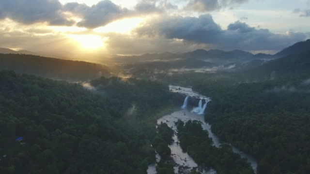 Aerial View of an Amazing Rain forest Waterfall video