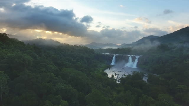 Aerial View of an Amazing Rain forest Waterfalls video