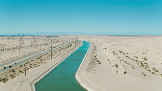 Aerial View of an Imperial County Aqueduct and Sand Dunes video