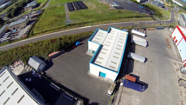 Aerial view of an industrial unit video
