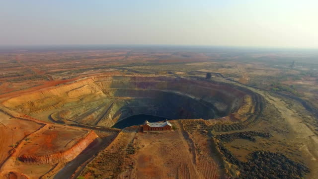 Aerial view of an old gold mine in the Australian outback