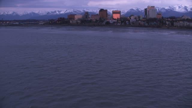 Aerial view of Anchorage, Alaska at dusk.