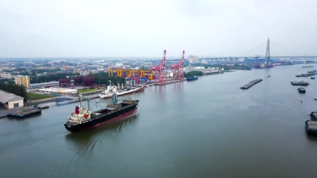 aerial view of anchored oil tanker ship in chao phraya river - chiatta video stock e b–roll