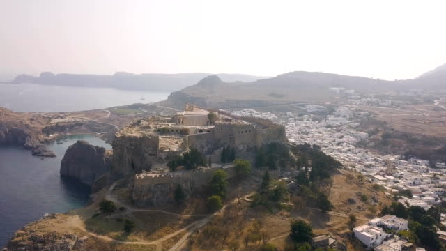 Aerial view of ancient Acropolis and village of Lindos video