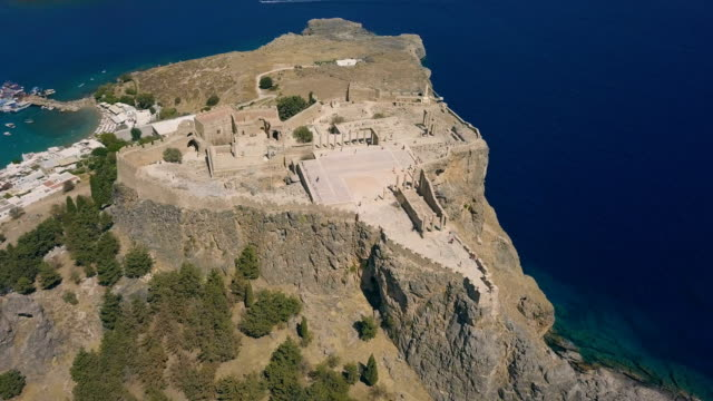 Aerial view of ancient Acropolis of Lindos video