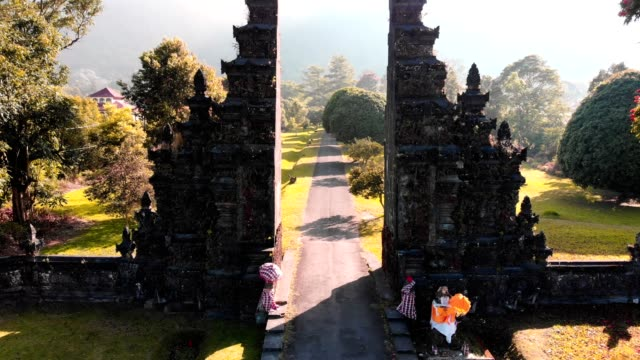 aerial view of ancient gate of balinese in green field and mountain background - tempio video stock e b–roll