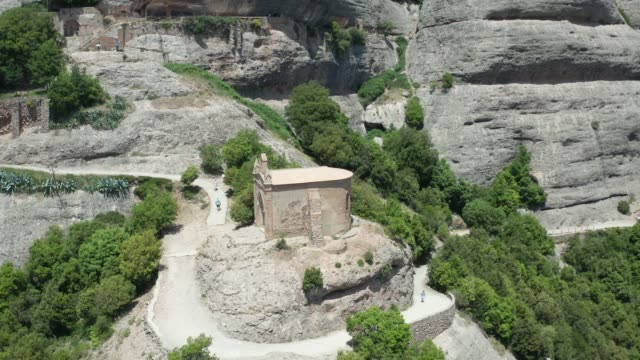 Aerial view of ancient temple on cliff top – film