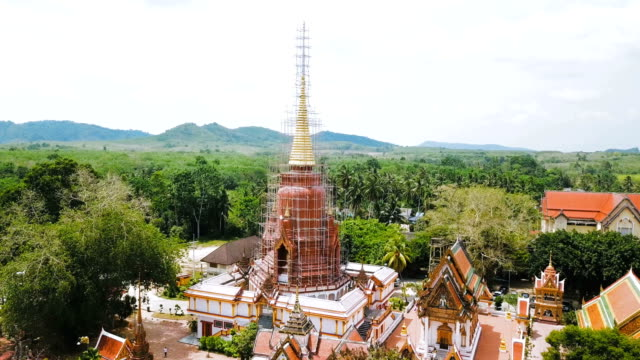 Aerial View Of Ancient Temple Wat Chang Hai In Pattani Province In Thailand video