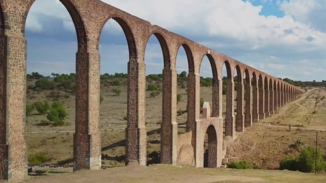 Aerial view of Aqueduct of Padre Tembleque in Mexico video