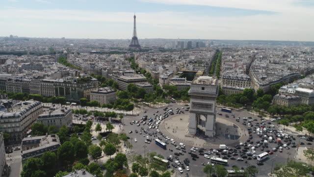 Aerial view of Arc of Triumph, Paris Aerial view of Arc of Triumph, Paris french architecture stock videos & royalty-free footage