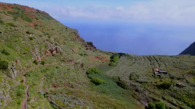 Aerial View of artificial lake and Mirador de Abrante and village Agulo on Canary Islands La Gomera in the province of Santa Cruz de Tenerife - Spain