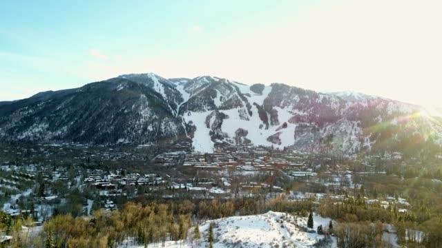 Aerial View Of Aspen Colorado In The Winter