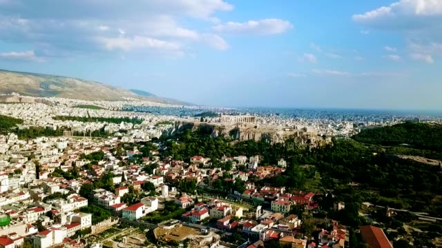 aerial view of athens - greece - mitologia video stock e b–roll