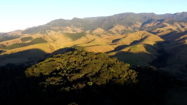Vista aérea da mata atlântica com montanhas ao fundo - vídeo