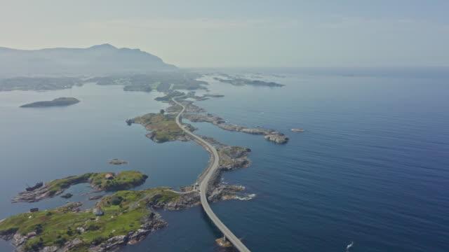 aerial view of atlantic way on west coast of norway - oceano atlantico video stock e b–roll