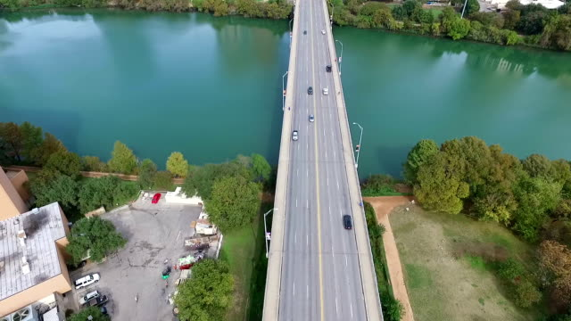 Aerial View of Austin Texas South Congress Avenue bridge leading up to the Texas State Capital Building video