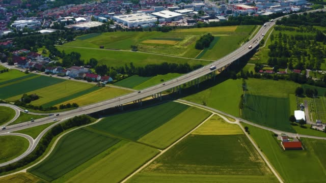 aerial view of autobahn close to winnenden in germany - caravan stock videos & royalty-free footage