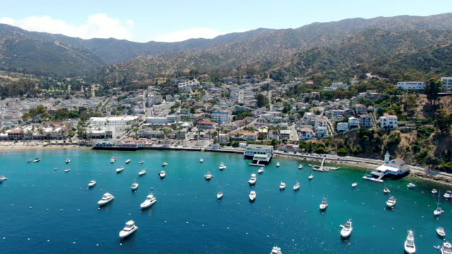 Aerial view of Avalon harbor in Santa Catalina Island, USA