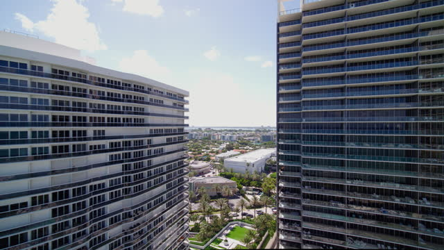 Aerial view of Bal Harbour and Surfside, Miami, from the beach and the ocean. Drone-made clip with backward camera motion. Aerial view of Bal Harbour and Surfside, Miami, Florida. 4K UHD B-Roll footage. ocean front properties stock videos & royalty-free footage