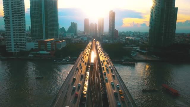 Aerial view of Bangkok at sunset video