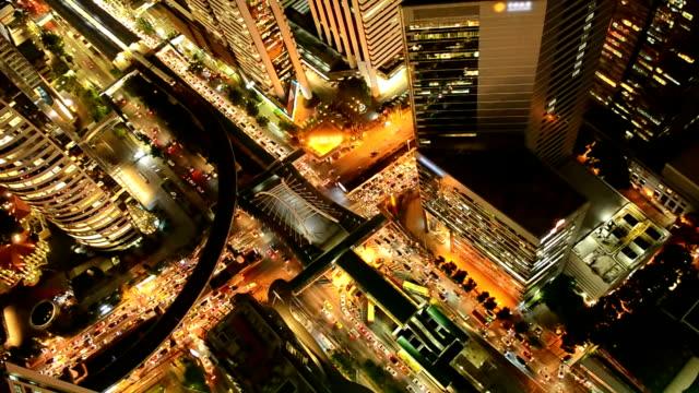 Aerial View Of Bangkok City At Night video