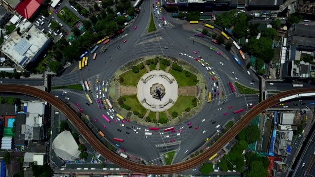 4K Aerial view of Bangkok roundabout victory momument traffic video