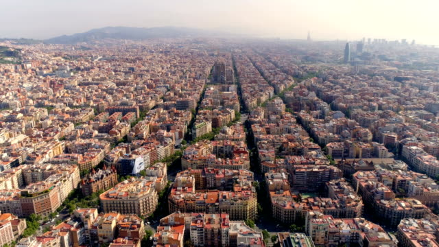 Aerial view of Barcelona city skyline with morning light video