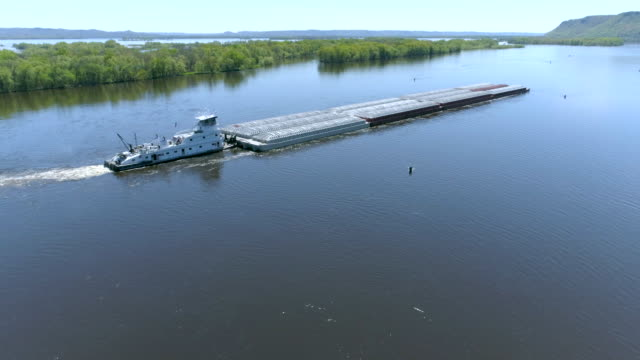 aerial view of barge - chiatta video stock e b–roll