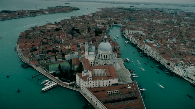 Aerial view of Basilica di Santa Maria della Salute and Grand Canal in Venice video