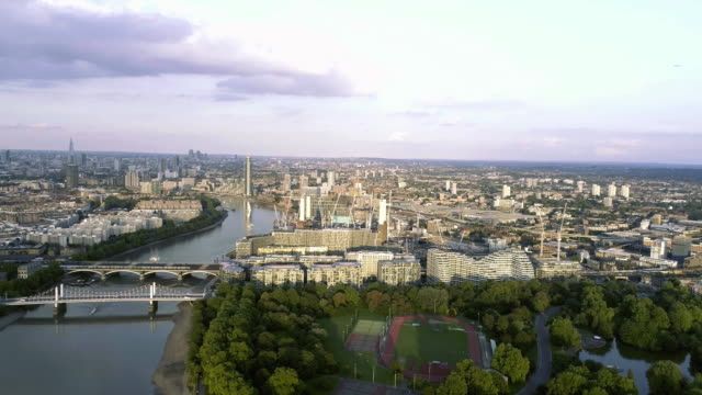 Aerial View of Battersea Power Station and Park in London video