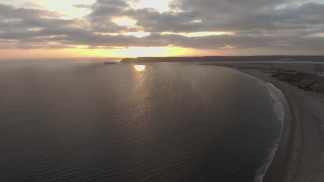 Aerial view of beach in San Diego, CA during sunset video