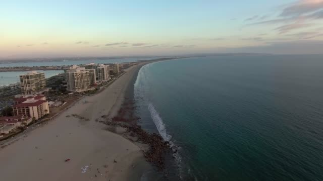 Aerial view of beautiful beach and ocean in San Diego, CA video