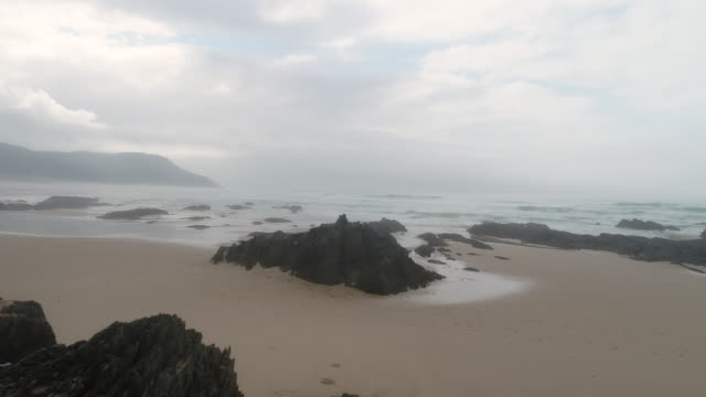 Aerial view of beautiful beach in South Africa video