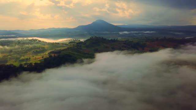 luftaufnahme des schönen morgens mit seenebel über tal im norden in thailand - tal stock-videos und b-roll-filmmaterial