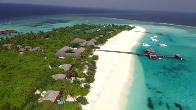 aerial view of beautiful island with sandy beach video
