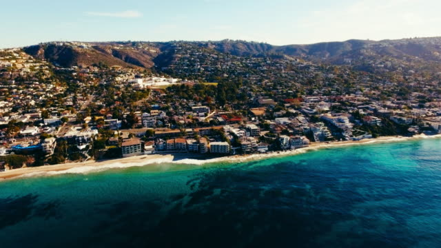 Aerial view of beautiful Laguna Beach in the summer sun video
