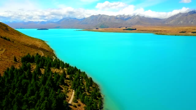 Aerial view of Beautiful Lake Tekapo, NewZealand video