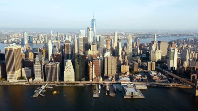Aerial view of beautiful landscape of New York, America. Drone flying away from the Manhattan district on the shore video