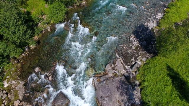 Aerial view of Beautiful mountain river near Trollstigen, Norway