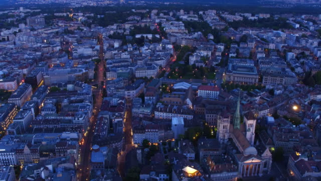 Aerial view of beautiful night of Geneva old city video