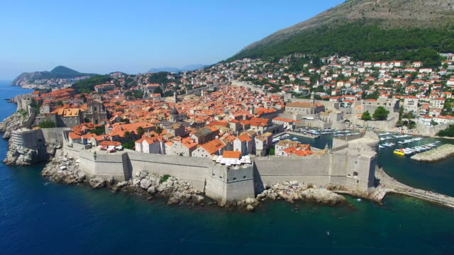 Aerial view of beautiful Old Town of Dubrovnik video
