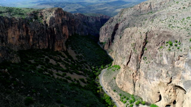 Aerial View of beautiful road passing through canyon in Armenia video