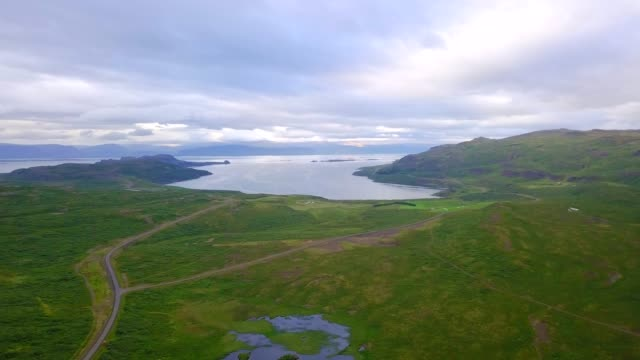 Aerial view of beautiful road through a countryside beautiful at westfjord, Iceland video