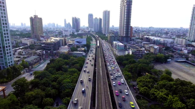 Aerial View of Beautiful Traffic and Sky Train on Bridge cross River video